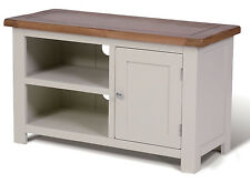 Small White Painted & Oak TV Stand | Media Cabinet | Entertainment Table/Unit