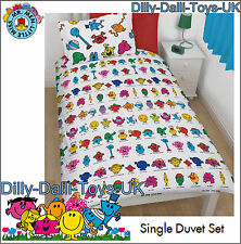 NEW Mr Men & Little Miss Reversible Single Bed Duvet Cover & Pillow Case Bedding
