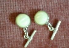 Mens Cufflinks silver plated , chain links with faux mother of pearl insets