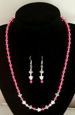 NEW HANDMADE BEAUTIFUL PINK FLOWER NECKLACE AND MATCHING EARRINGS SET.