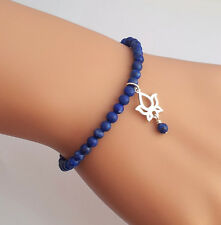Sterling Silver Lotus & Lapis Lazuli Gemstone Beaded Bracelet Handmade in U.K