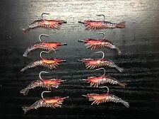 10 X King Prawn Soft plastic shrimp fishing lure 60mm rigged hook BREAM FLATHEAD