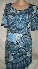 Silver detail Blue Paisley print short sleeve easy wear comfort DRESS 14 NEW