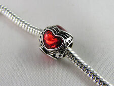 RED ENAMEL SILVER PLATED SPACER BEAD FOR EURO STYLE CHARM BRACELETS  (SP 127)
