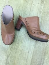 """DR MARTENS LEATHER STUDDED CLOGS MULES SHOES TAN BEIGE SIZE 7 /41 3.5"""""""