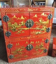 Fantastic Oriental Red Lacquered Altar Cabinet Cupboard TV DVD Storage