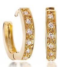 18K Yellow Gold Filled Women Jewlery Round Hoop Diamond Earrings MTUK068+
