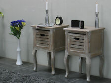 2 Nachtschrank Nachttisch Madrid Used Look White Wash Nachtkonsole Beistelltisch