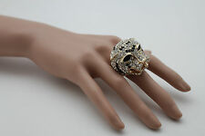 Women Ring Fashion Jewelry Gold Leopard Metal Tiger Head Panther Elastic Band