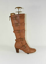 Brown Leather STARK Knee High Strappy Pixie Mid Heel Riding Boots Size 3/36