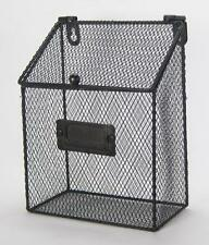 """Rustic Style Metal Wire Basket  Wall Pocket Organizer with Hinged Lid 8""""x6"""""""