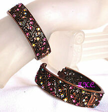 Rubbed Bronze Luk Vintage Deco Nouveau Filigree Bangle Cuff w/ Swarovski Crystal