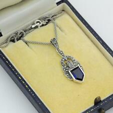 """Sterling Silver Sapphire and Marcasite Pendant Necklace 20"""""""