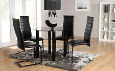 Solar & Apollo Round Glass Dining Room Table and 4 Chairs Set (Black)