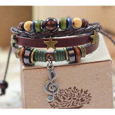 Fashion Women's  Infinity Charm Music lots Beads Style Leather Bracelet Jewelry
