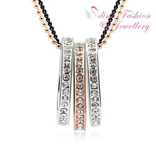 18K Rose & White Gold Plated Swarovski Crystals Triple Rings Long Necklace