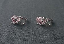 Enchanting 925 sterling silver genuine Ruby Panther huggie style earrings