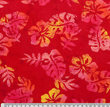 1/2 yard Batik Look HIBISCUS Flowers Red Yellow Pink Quilt Patchwork Fabric