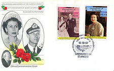 St VINCENT GRENADINES 1987 QUEEN 40th WEDDING ANNIVERSARY $3 & 4 FIRST DAY COVER