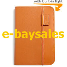 RARE OFFICIAL AMAZON KINDLE KEYBOARD LIGHTED GENUINE LEATHER CASE COVER - ORANGE