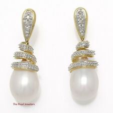 14k Yellow Solid Gold; 6 Sparkling Diamonds; White Pearl Dangle Stud Earring TPJ