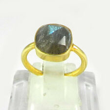 Graceful Natural Labradorite 925 Silver Gold Plated Ring Jewelry Size 5.5 R729