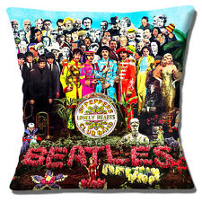 "BEATLES SGT. PEPPERS LONELY HEARTS CLUB RIBBON ALBUM 16"" Pillow Cushion Cover"