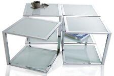 Beistelltisch Couchtisch ELEMENT chrom/frosted Glas Design Tisch Würfeltisch NEU