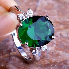 CREATED GREEN SAPPHIRE 925 SOLID STERLING SILVER RING Size L / 6