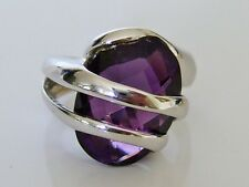Beautiful Vintage 14ct White Gold Amethyst Cocktail Ring Size J 7g