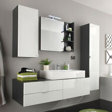 Badezimmer Set Bad Beach Badmöbel weiß Hochglanz grau mit Waschbecken Spiegel
