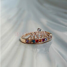 Skillful Material Alloy Gold Plated Crown Color Crystal Rhinestone Light Ring