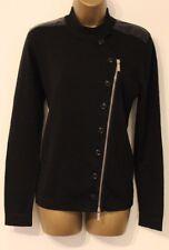 Karen Millen Military Knit Patch Shoulder Zip Wool Biker Cardigan Jacket 14 42