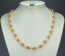 "Pretty orange topaz (stone) bead necklace,clear crystals, silver spacers 20""+2"""