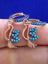 TURKISH JEWELRY TURQUOISE HANDMADE 925K STERLING SILVER EARRINGS E1020