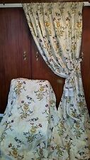 """Truly Stunning LONG Silk Embroidered Brocade Curtains Ivory Gold 80""""w by 104""""d"""