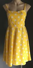 Tailor made PINUP ROCKABILLY Yellow & White Polka Dot Sleeveless Sundress Size12