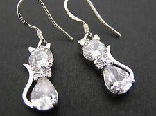 Clear crystal cat Drop/Dangle earrings 925 sterling silver hook womens ladies