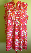 Ladies Womens Casual Sleeveless Shirt Style Shift Dress Tunic Peacocks Size 20