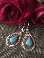 925 STERLING SILVER EARRINGS - DETAIL HOOP DROP - TURQUOISE INNER