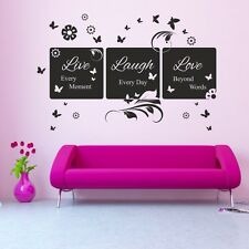 LIVE LAUGH LOVE floral butterflies bedroom vinyl saying lounge wall art sticker