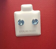 Sterling Silver CZ Blue 6mm Stud Earrings New 925 Crystal round Cubic Zirconia