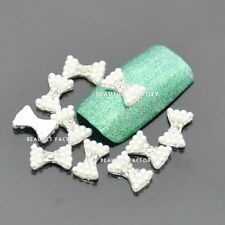 "10pcs New Authentic ""White Pearl Diamond Bow"" 3D DIY Alloy Nail Art Deco #861D"