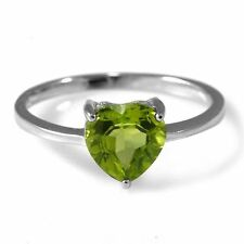 1.3ct Gorgeous Genuine Heart Peridot Solid Sterling Silver Ring Size 6 Ladies