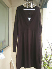 Size L / 14 DAVID LAWRENCE stretchy light-knit chocolate brown dress BNWT $149