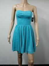 NEW FAST AUS - GUESS Size 6 Strapless Flared Knee Length Dress - Turquoise $138