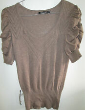 Ladies Portmans Size S Knit Short Sleeve Top runched Sleeves Cotton