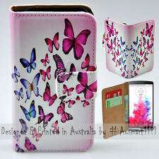 Wallet Mobile Phone Case Flip Cover for LG G3 - Colourful Butterflies Abstract
