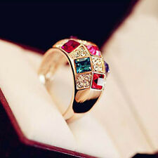 Elegant Women Jewelry Gold Plated Colorful Crystal Rhinestone Finger Rings Gift