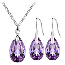 Amethyst Purple Crystal Almond Jewellery Set Drop Earrings Necklace S740